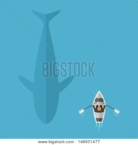 Man in boat floats near big whale in blue ocean. Danger risk and contrasts concept. Flat design. Vector illustration. EPS 8 no transparency