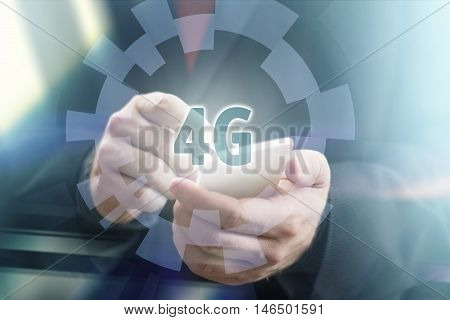 Businessman Holding Phone in 4G Concept Image