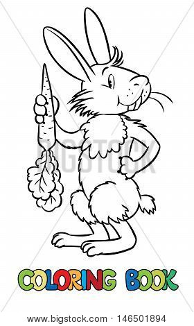 Coloring book or coloring picture of lttle funny hare or rabbit with carrot in his hand. Children vector illustration