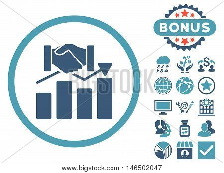 Acquisition Graph icon with bonus. Vector illustration style is flat iconic bicolor symbols, cyan and blue colors, white background.