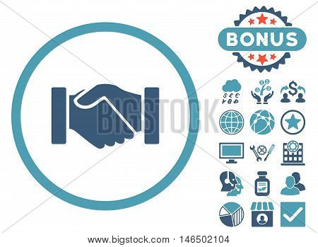 Acquisition Handshake icon with bonus. Vector illustration style is flat iconic bicolor symbols, cyan and blue colors, white background.