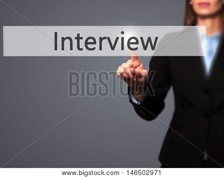 Interview - Businesswoman Pressing Modern  Buttons On A Virtual Screen