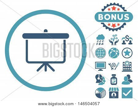 Projection Board icon with bonus. Vector illustration style is flat iconic bicolor symbols, cyan and blue colors, white background.