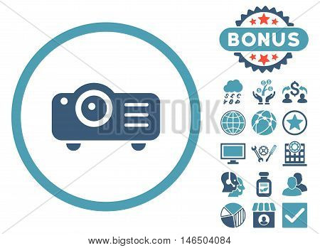 Projector icon with bonus. Vector illustration style is flat iconic bicolor symbols, cyan and blue colors, white background.