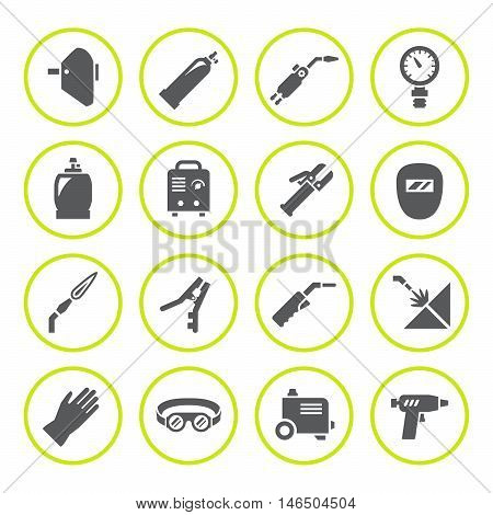 Set round icons of welding isolated on white. Vector illustration