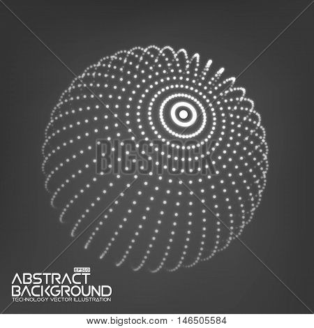 Abstract 3d Illuminated distorted Mesh Sphere . Neon Sign . Futuristic Technology HUD Element . Elegant Abstract Destroyed Sphere . Big data visualization .