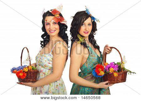 Spring Women Holding Flowers Baskets