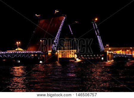 Drawbridge close up at night with illumination Saint Petersburg, Russia.