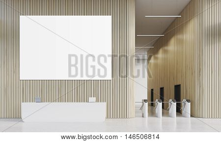 Reception, Turnstiles And Poster
