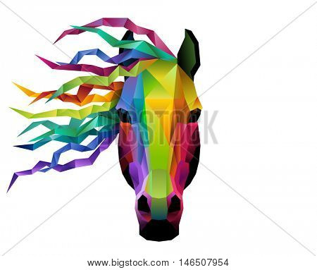 Horse head in geometric or low poly style, eps10