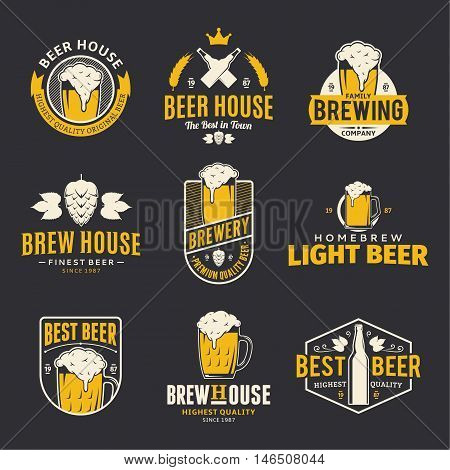 Set of vector color beer logo icons and design elements on black background for beer house bar pub brewing company branding and identity.