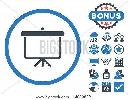 Projection Board icon with bonus. Vector illustration style is flat iconic bicolor symbols, smooth blue colors, white background.