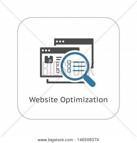 Website Optimization Icon. Flat Design. Isolated Illustration. App Symbol or UI element. Web Pages with Magnifying Glass.