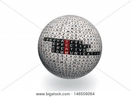 Team Acronym On Dices 3D Ball