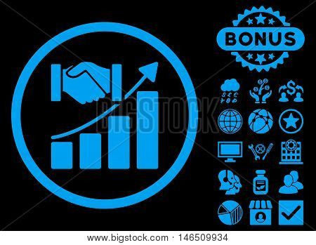 Acquisition Growth icon with bonus. Vector illustration style is flat iconic symbols, blue color, black background.