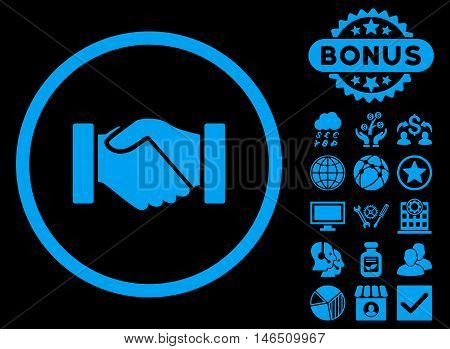 Acquisition Handshake icon with bonus. Vector illustration style is flat iconic symbols, blue color, black background.