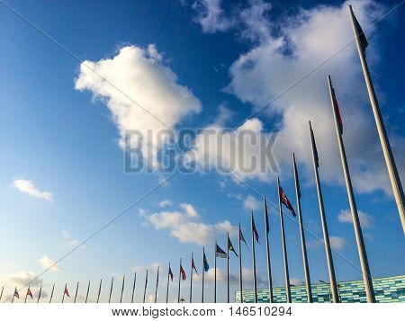 Many flagpoles with countries flags at Olympic park