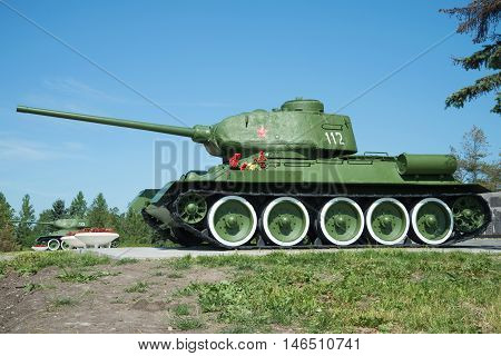 SAINT PETERSBURG, RUSSIA - JUNE 29, 2015: The soviet tank T-34 closeup on a sunny june day. Memorial