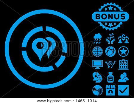 Geo Diagram icon with bonus. Vector illustration style is flat iconic symbols, blue color, black background.
