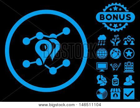 Geo Trends icon with bonus. Vector illustration style is flat iconic symbols, blue color, black background.
