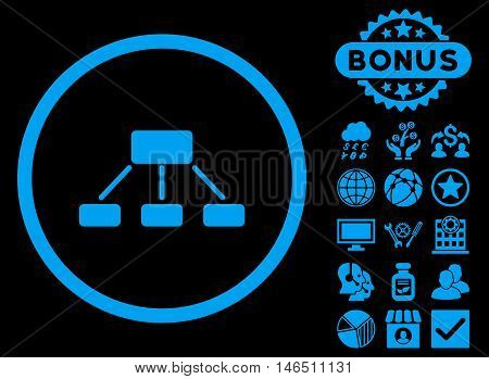 Hierarchy icon with bonus. Vector illustration style is flat iconic symbols, blue color, black background.