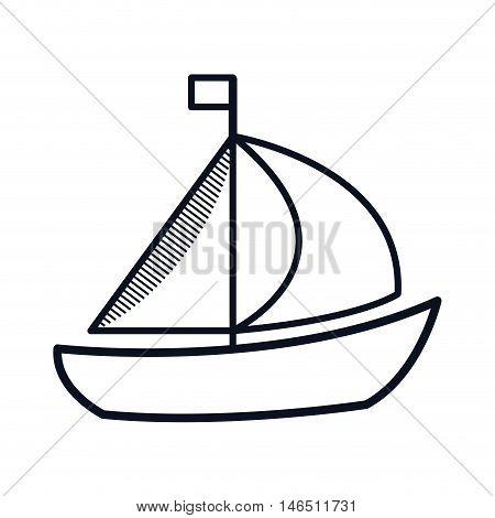 sailboat ship. nautical boat with flag. vector illustration