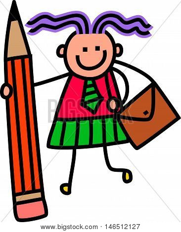 A cute doodle drawing of a happy little girl in school uniform holding a giant pencil.