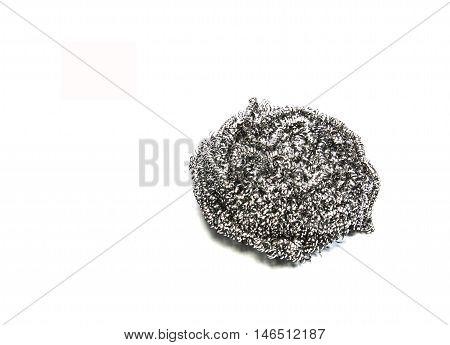 steel wool dishwashing on a white background