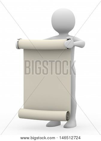 Man With Manuscript On White Background, 3D Rendering