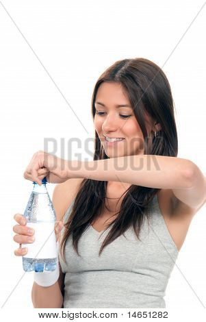 Girl Open Drinking Mineral Water