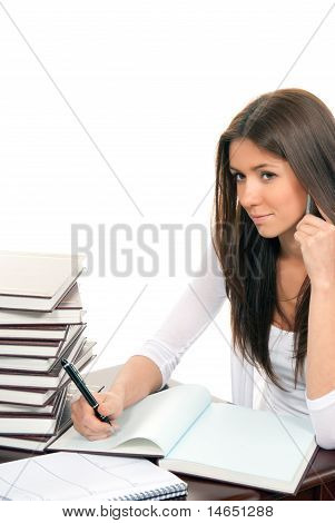 Business Woman Writing And Talking On Phone