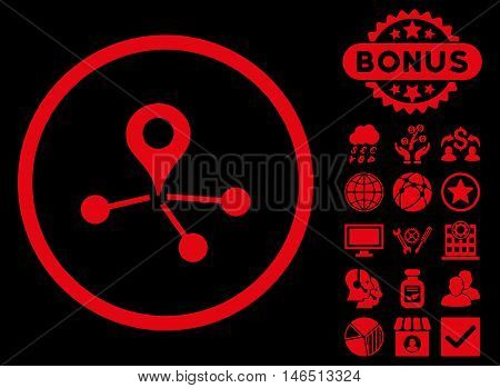 Geo Network icon with bonus. Vector illustration style is flat iconic symbols, red color, black background.