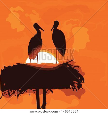 Stork silhouettes in the nest on sunrise background. Vector symbolic romantic illustration