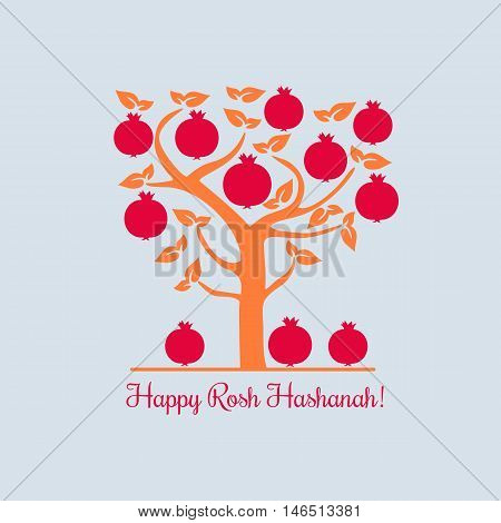 Rosh Hashanah Jewish New Year concept. Traditional holiday symbols. Cute bright pomegranate. Template for greeting card. Design idea with element of happy party background. Vector illustration