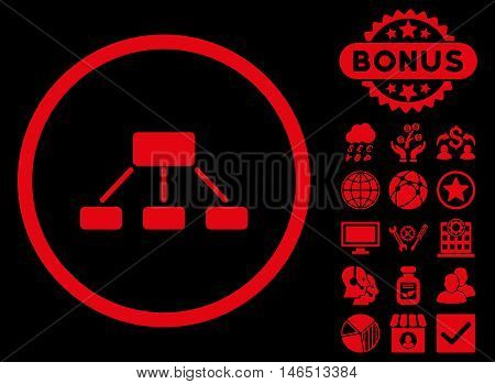 Hierarchy icon with bonus. Vector illustration style is flat iconic symbols, red color, black background.