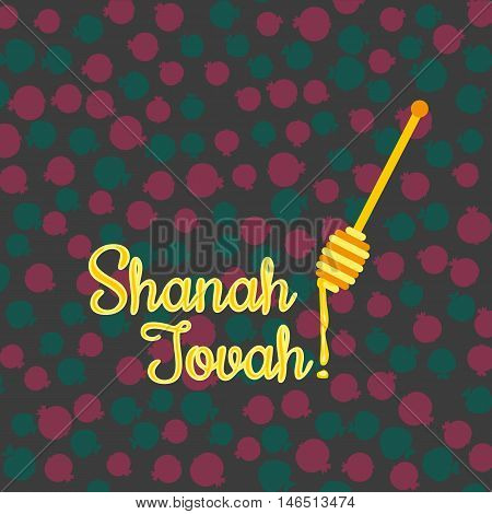 Rosh Hashanah Jewish New Year concept. Traditional holiday symbols. Bright honey congratulation. Pattern of apple pomegranate. Greeting card design. Element of party decoration. Vector illustration