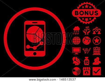 Mobile Graphs icon with bonus. Vector illustration style is flat iconic symbols, red color, black background.