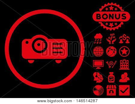 Projector icon with bonus. Vector illustration style is flat iconic symbols, red color, black background.