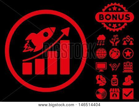 Rocket Startup Graph icon with bonus. Vector illustration style is flat iconic symbols, red color, black background.