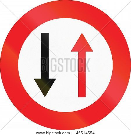 Belgian Regulatory Road Sign - Give Way To Oncoming Traffic