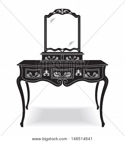 Vintage Dressing Table and mirror frame. French Luxury rich carved ornaments furniture. Victorian Royal Style furniture