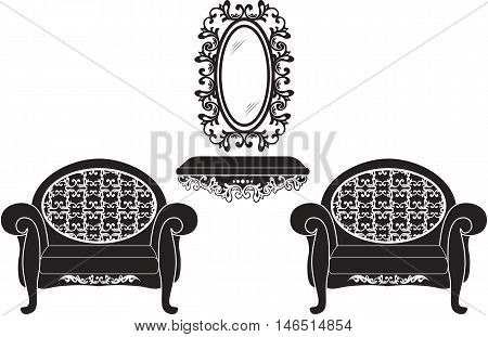 Elegant Baroque luxury ornamented furniture set. Baroque style armchairs and table. Mirror frame decor. Vector sketch