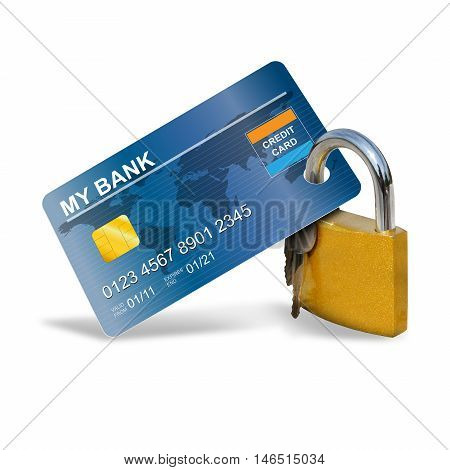 Credit Card Security with a padlock, illustration and photo