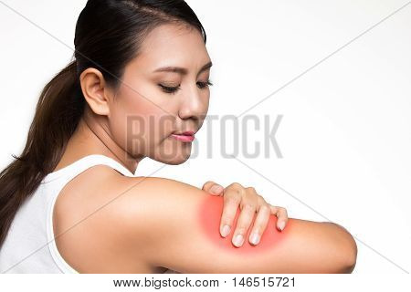 Asian woman having arm pain on white background