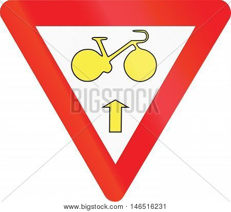 Belgian Regulatory Road Sign - Cyclists May Continue Straight Ahead In Spite Of Red Light. Give Way