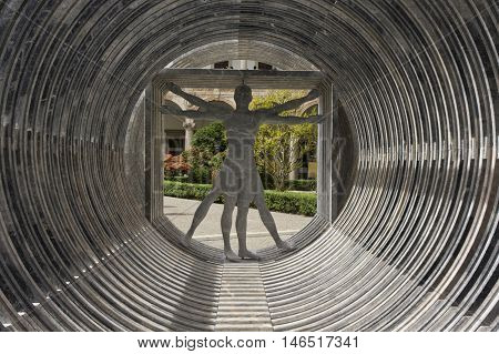 MILAN, ITALY - APRIL 14 2015: Design installation by the Lebanese architect Bernard Khoury Margraf at Milan public university showing the vitruvian man made in marble