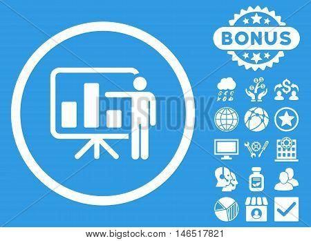 Bar Chart Presentation icon with bonus. Vector illustration style is flat iconic symbols, white color, blue background.