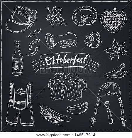 October fest doodle set. Vintage illustration for identity, design, decoration, packages product and interior decorating