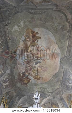 MILAN, ITALY - APRIL 16 2015: Majestic frescoes on the ceiling of Palazzo Litta in Milan Italy