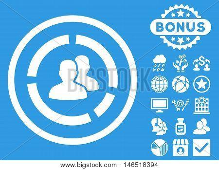 Demography Diagram icon with bonus. Vector illustration style is flat iconic symbols, white color, blue background.